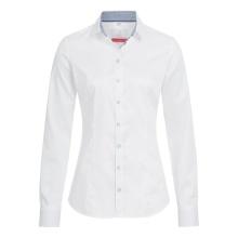 Bluse, weiß mit Kontrast blau