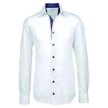 Hemd, weiß mit Kontrast blau