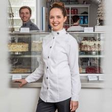 """""""Chef-Severina"""" weiß, mit angenähten Metall-Knöpfen"""